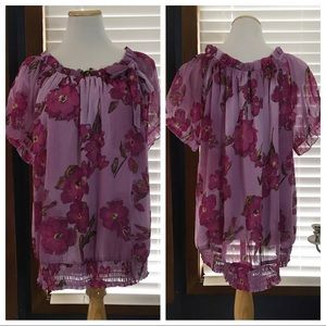 Apt 9 Purple Georgette Bow Blouse size 1X
